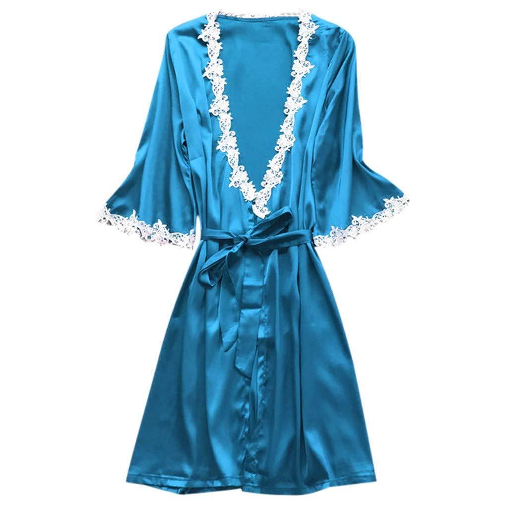 Women Plus Size Stain Kimono Robe Lace Silk Tempation Long Bathrobe Nightgown Babydoll Chemise Sleepwear S-3XL (Sky Blue, XL)