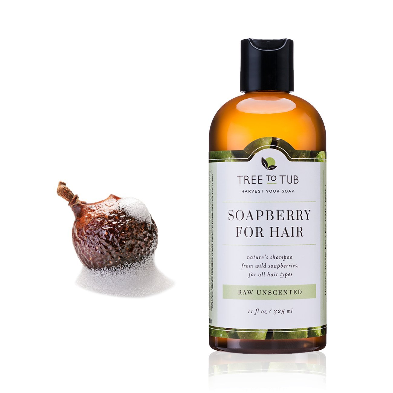 Organic Sensitive Scalp Shampoo —the Only Fragrance Free Shampoo that Naturally Soothes Sensitive Skin, Eczema & Psoriasis with Gentle Soapberry Lather, Unscented, 11oz—Tree to Tub