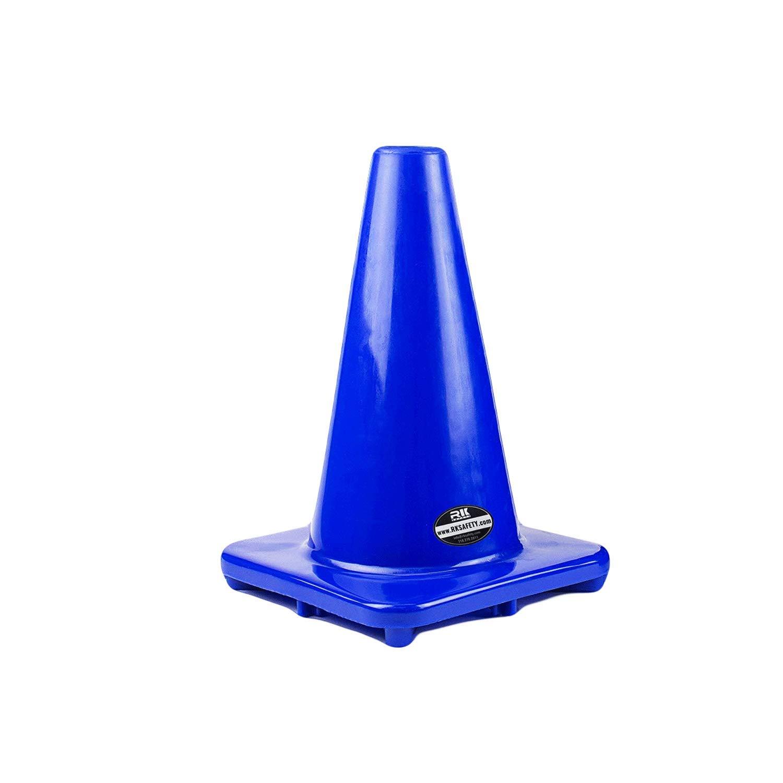 (Set of 10) RK PVC Traffic Safety Cone, Blue, 12-Inch