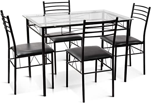 Amazon Com Tangkula Dining Table Set 5 Pieces Dining Set With Tempered Glass Top Table And 4 Chairs Kitchen Dining Room Furniture Black Table Chair Sets