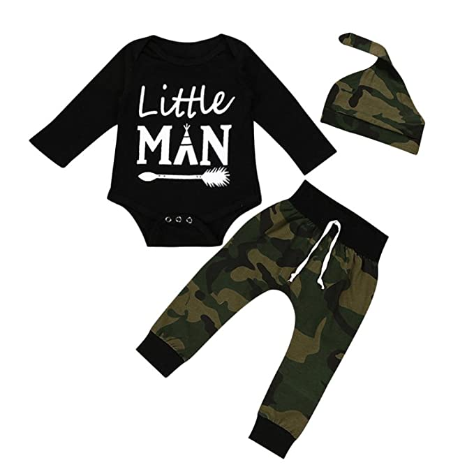 8c6dff44cddd3 MCYs Baby Jungen Buchstaben Print Strampler Overall Camouflage Hosen  Outfits Set Langarm T-Shirt Strampler