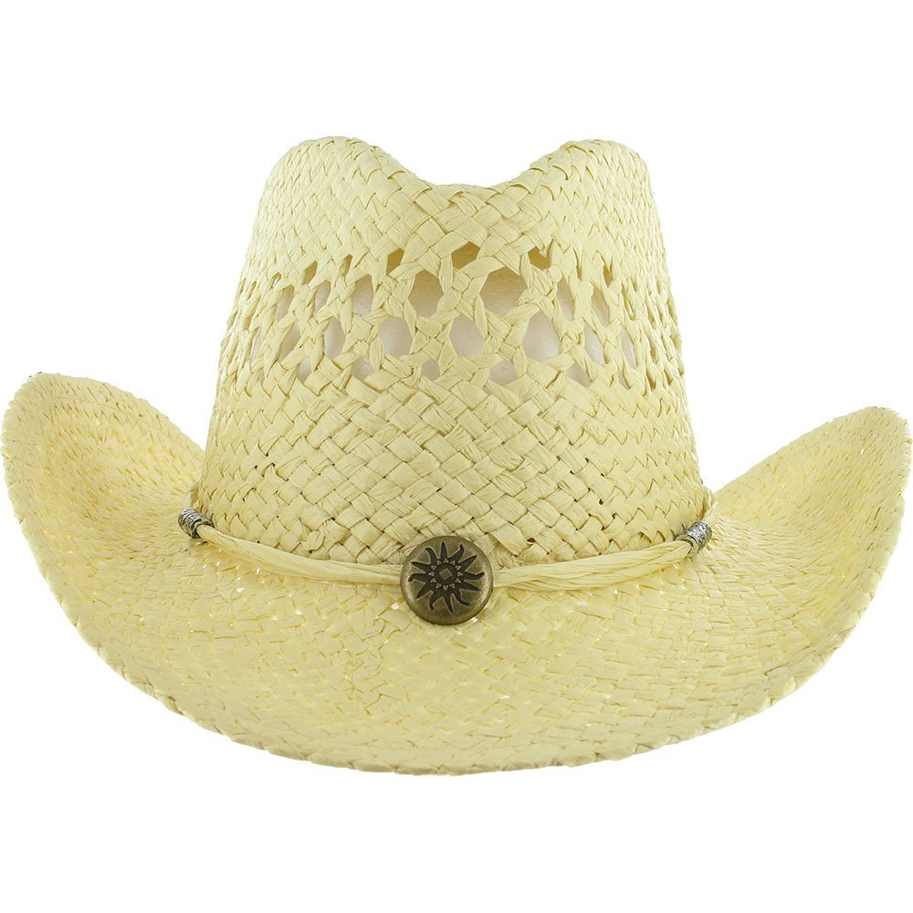 COWBOY Shapeable Western Mens Womens STRAW HAT Panama Cowgirl Raffia Sun Rodeo Concho Farm Field Summer Cap