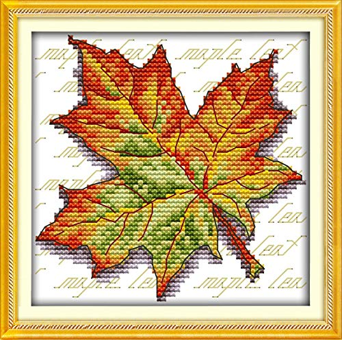 Cross Stitch Stamped Kits Quilt Pre-Printed Cross-Stitching Patterns for Beginner Kids Adults, Embroidery Crafts Needlepoint Starter Kits for Home Wall Decor Maple Leaf Pattern