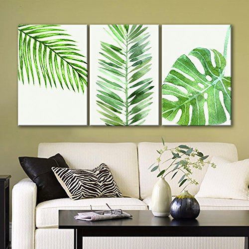 wall26 3 Panel Canvas Wall Art - Watercolor Style Green Tropical Leaves - Giclee Print Gallery Wrap Modern Home Decor Ready to Hang - 16