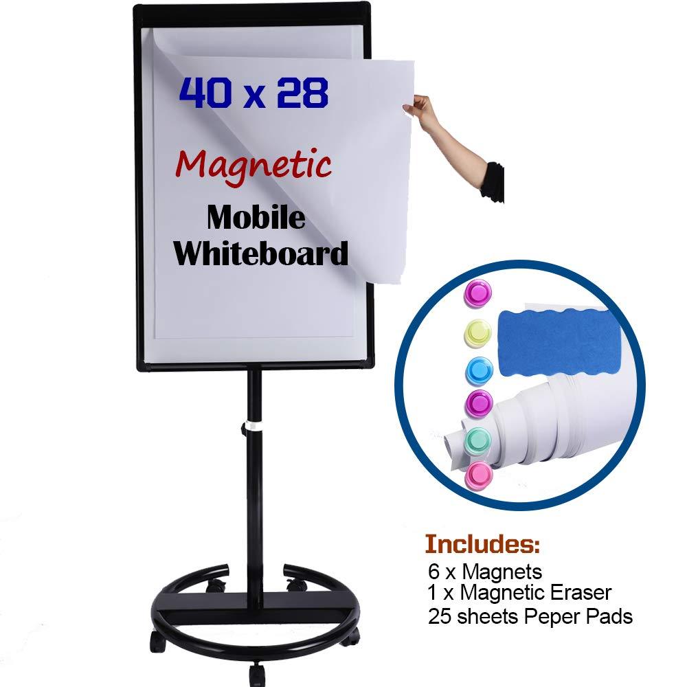 Magnetic Mobile Whiteboard/Height Adjustable Dry Erase Board Easel on Wheels, 40 X 28 Inch, w/Flipchart Easel Pad, Magnets & Eraser, Black