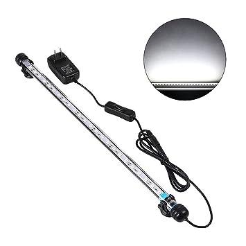 UEETEK 48CM LED Pecera Luces Iluminación del acuario 5050 SMD RGB Barra de luz Subacuática sumergible impermeable Clip lámpara - Blanco (Europe Standard ...