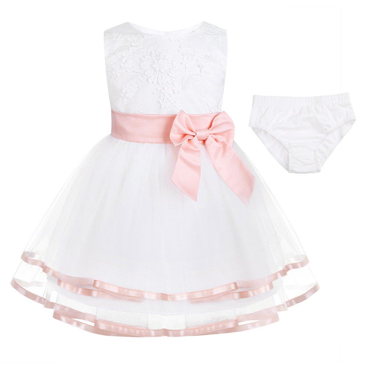 iEFiEL Baby Mädchen Prinzessin Kleid Blumenmädchenkleid Taufkleid Festlich Kleid Hochzeit Partykleid Festzug Outfits mit Baumwolle Höschen