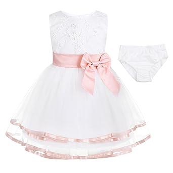 Tiaobug Baby Mädchen Kleidung Set aus Kleid+Windeln Hose Abdeckung Neugeborene Taufkleid Partykleid Blumenmädchen Geburtstag