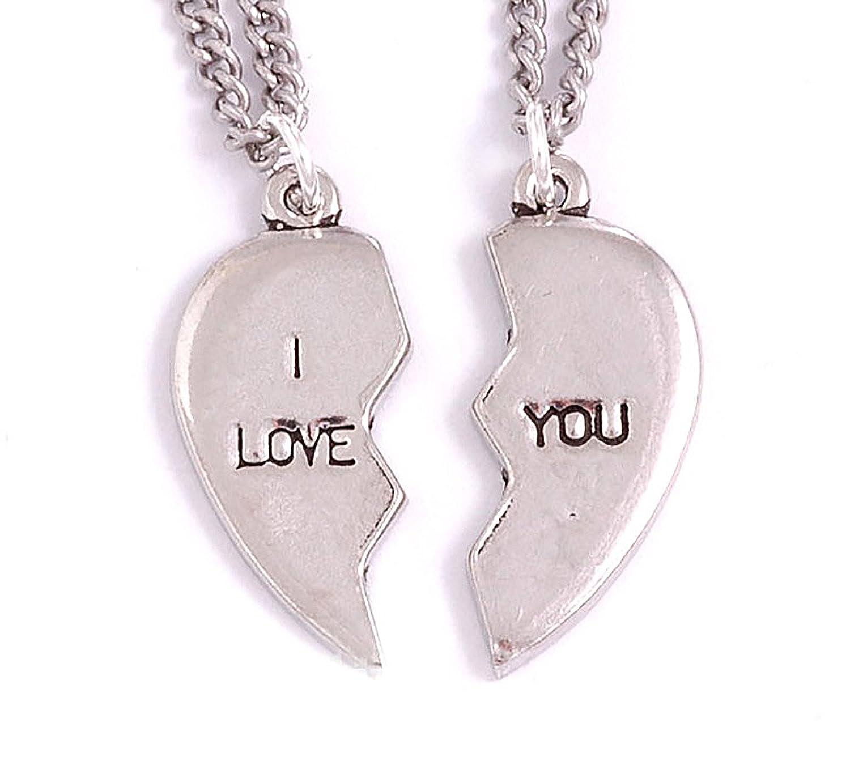 I love you broken heart pair of pendants necklaces amazon i love you broken heart pair of pendants necklaces amazon jewellery aloadofball Image collections