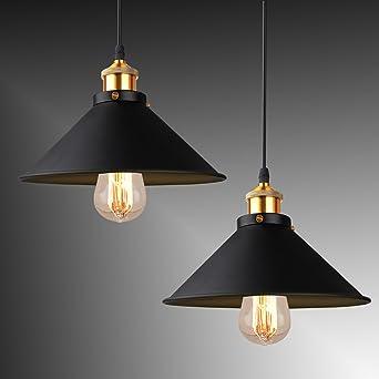 BAYTTERR 2 Stck Design Retro Pendelleuchte E27 Hngelampe Hngeleuchte 25cm Fr Wohnzimmer Esszimmer Bar
