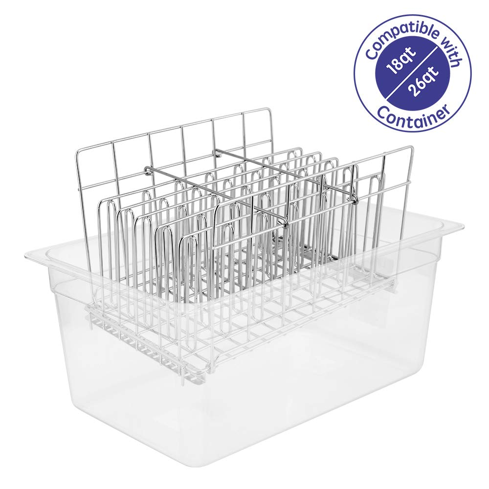 Geesta Sous Vide Rack Stainless Steel for Anova Cookers No-Float, Adjustable, Collapsible for Most Containers - 18 & 26 qt Large Size
