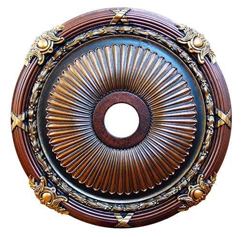 "Fine Art Deco ""Strength & Beauty"" Hand Painted Ceiling Medallion 26 In. Finished in Bronze, Gold, Copper and Brass"