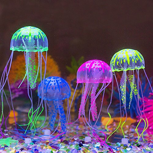 [Glowing Jellyfish,Govine 4pcs Glowing Jellyfish Aquarium Decorations For Fish Tank Small] (Log Costume)
