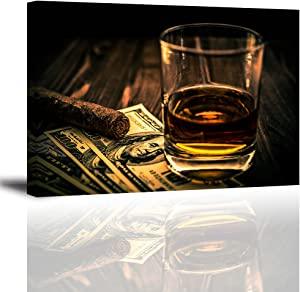 "Cigar and Wine Wall Art for Bar, PIY Whiskey Picture Canvas Painting Prints Artwork (Waterproof Home Decor, 1"" Thick, Bracket Mounted Ready to Hang, 20x30 Large)"