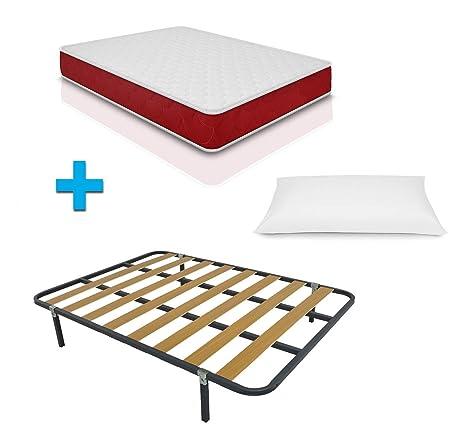 Duermete Cama Completa con colchón viscoelástico viscogel Reversible + somier Basic + 4 Patas Regalo Almohada