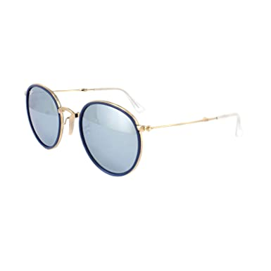 3ba3a5646cecc Image Unavailable. Image not available for. Color  Ray Ban RB3517 Round 001 30  Gold Folding Silver Mirror Sunglasses 51mm