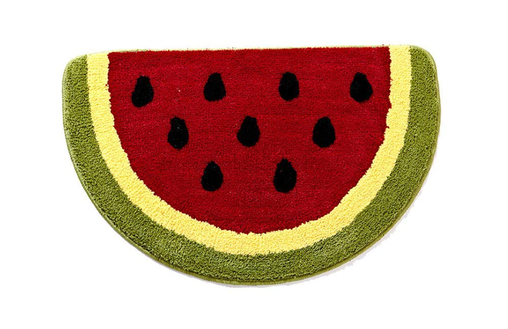 Baby Playtime Cozy Watermelon Cute Fruits Half Round Shaped Bedroom Bathroom Doorway Kitchen Floor Rug Carpet Water Absorption Non-Slip mat for Kid's Room (50x80CM)