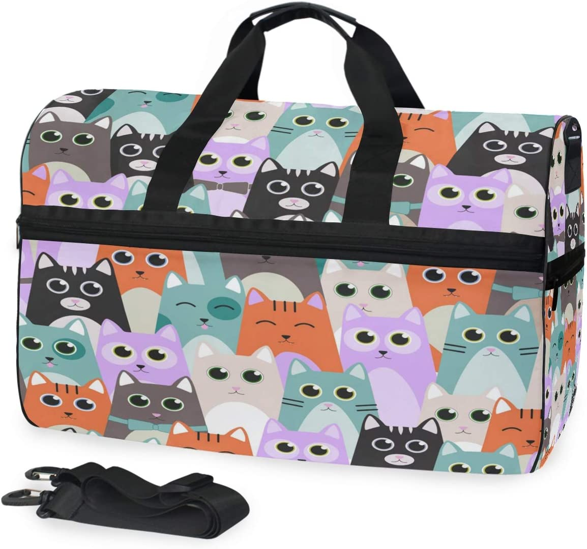 Cute Cats For Kids Sports Gym Bag with Shoes Compartment Travel Duffel Bag for Men and Women