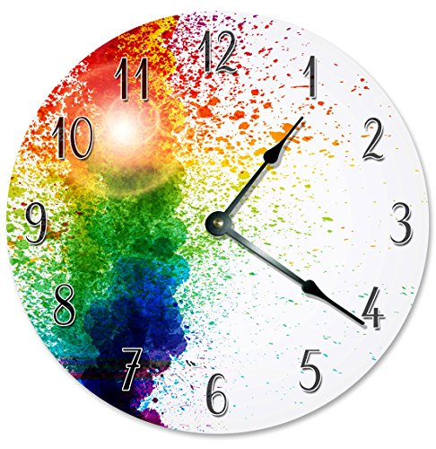 - COLORFUL PAINT RAINBOW Clock - Large 10.5