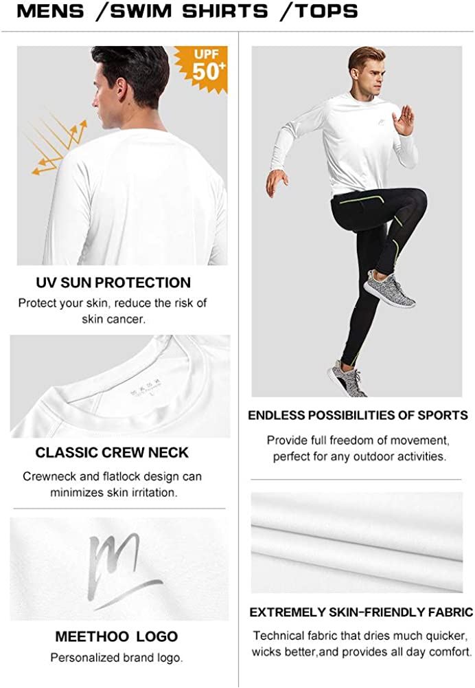 Mens UPF 50 Quick Dry UV Swim T Shirt Rash Guard Athletic Top for Workout Running Hiking Sun Protection Long Sleeve Shirts