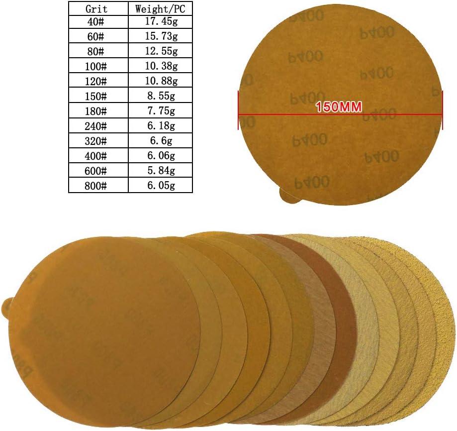 JINYIWENPapier de verre 15 Pcs 6 Pouces PSA Or Papier abrasif Doxyde Daluminium///40 /à 800 Grains Disque De Pon/çage Pour M/étal /& Automobile///240
