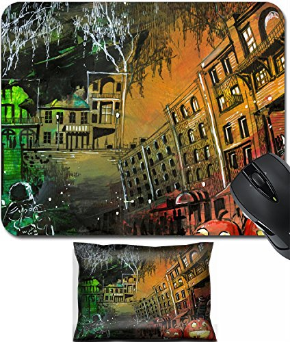 MSD Mouse Wrist Rest and Small Mousepad Set, 2pc Wrist Support design 23046208 Halloween pumpkin old town (Halloween Pumpkin Designs Painting)