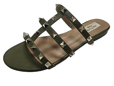 20af08fdf941 Kaitlyn Pan Genuine Leather Women s Studded Flip-Flop