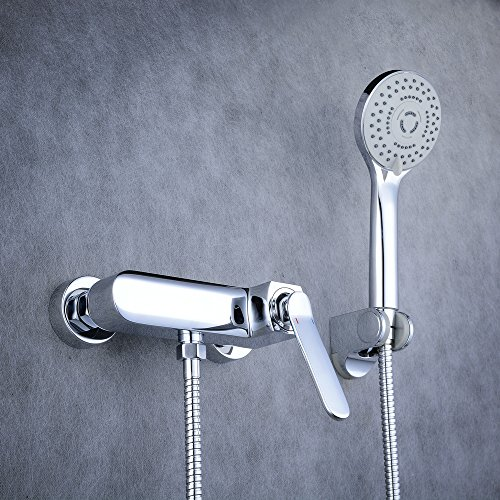 Beelee one handle bathroom shower faucet set with hand showerhead,chrome (Mixer Shower One Handle)