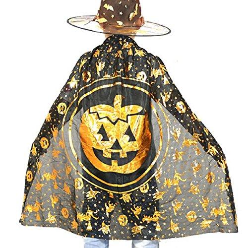 Choutia Halloween Children Cloak Masquerade Cos Props Small Devil Horns Gowns (Gold) (Dillards Robes)