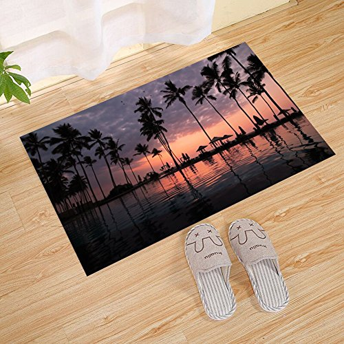 JANNINSE Tropical Beach Sunset Palm Tree Hotel Pool Wooden House Door Mat, Extra Thick Door Mat | Entrance Door Mat For Patio, Front Door | Decorative Season | Flower ()