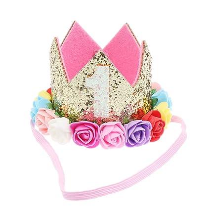 Minkissy corona de cumpleaños de flor de número de bebé ...