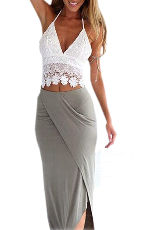 Minetom Donne Sexy Lace Collar Camicetta Hollow Crochet Splice Shirt Tops