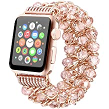 Tomazon Apple Watch Band 38mm, Fashion Handmade Elastic Stretch Crystal Beaded Bracelet Metal Chain Women Girls Strap Wristband for Apple Watch Series 3 / 2 / 1 - Pink 38mm