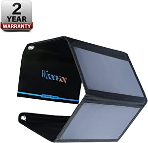 Foldable Solar Charger 28W for Cell Phones,for iPhone,for iPad, for iPods and Android 5V USB Charging Devices with High Efficiency SunPower Foldable Solar Panel Charger