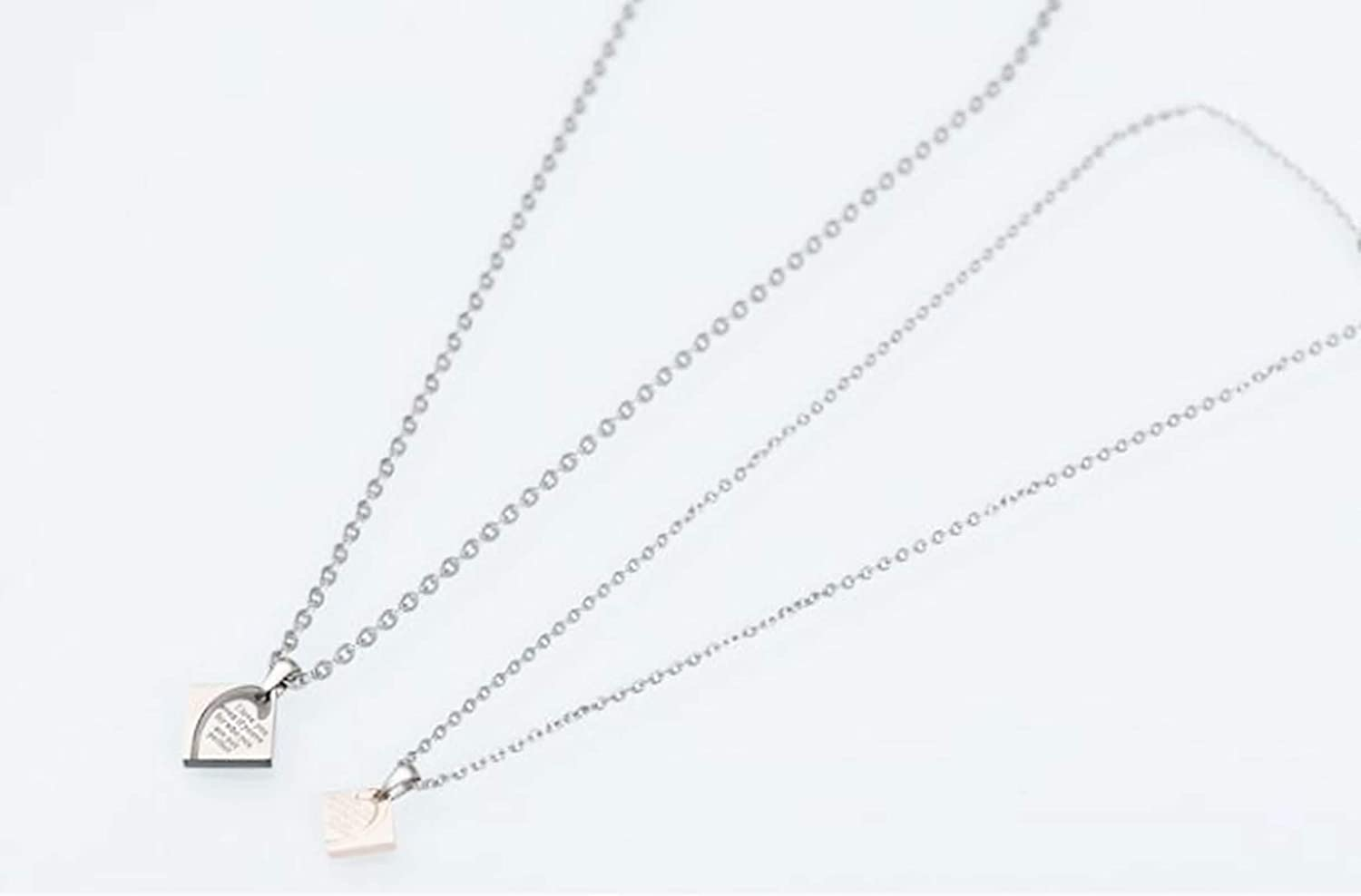 MoAndy Necklace Chain Stainless Steel Unisex Adults Pendant Necklaces Square Love Spelling Letter