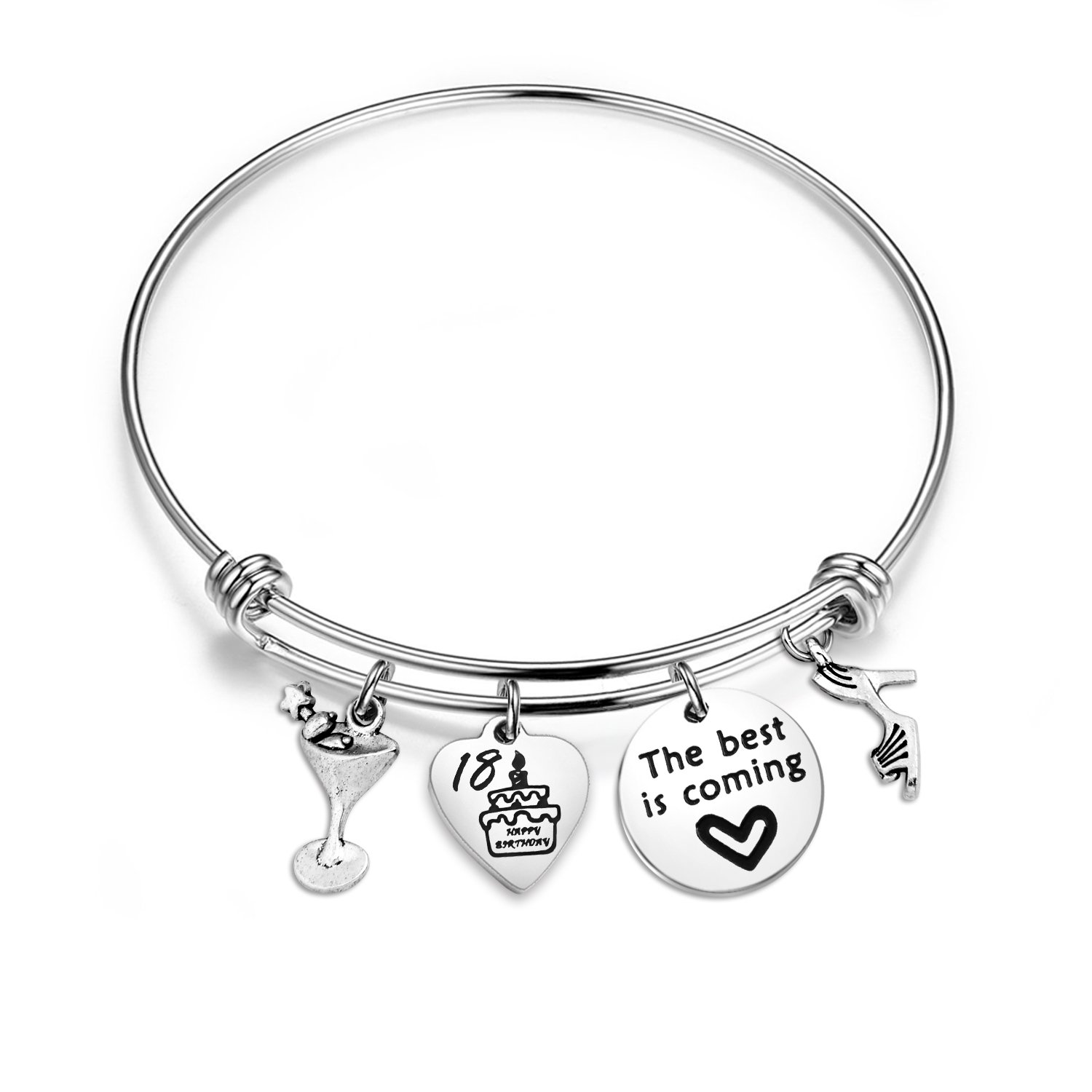 bobauna Happy Birthday Gift for 13th Sweet 16 18th 21st 30th 40th 50th 60th Stainless Steel Expandable Wire Bangle Bracelet