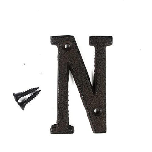 3 vintage decorative cast iron metal alphabet letters wall sign hanging address name sign letter