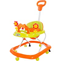 Baybee Kenny Baby Walker Cum Rocker | Music & Light Function with Parant Control Push Bar and Stopper, Easy to Fold, Fun Toys & Activities for Baby (Orange)