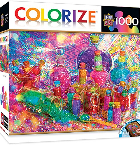 Catch 1000 Piece Puzzle (MasterPieces Colorize Glitter Daze - Glittery Bottles 1000 Piece Jigsaw Puzzle)