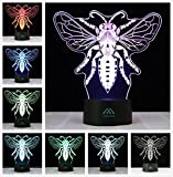 3D Illusion Animal Drosophila LED Desk lamp 7 Color Touch Night Light? Kiddie Children Family Holiday Gift Home Office Childrenroom Theme Decoration by MINGXUAN…