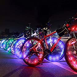 Bright Led Bike Wheel Light - DAWAY A01 Waterproof Bicycle Tire Light Strip, Safety Spoke Lights, Cool Bike Accessories, Light Up Wheels, Lightweight, 2 Mode, Include Battery, 1 Year Warranty,Colorful