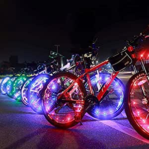 Bright Led Bike Wheel Light - DAWAY A01 Waterproof Bicycle Tire Light Strip, Safety Spoke Lights, Cool Bike Accessories, Light Up Wheels, Lightweight, 2 Modes, Include Battery, 1 Year Warranty, Blue
