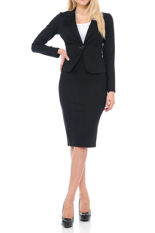 Sweethabit Womens Wear to Work Solid Skirt Suit Set (Large, 3127N-3087N_Black)