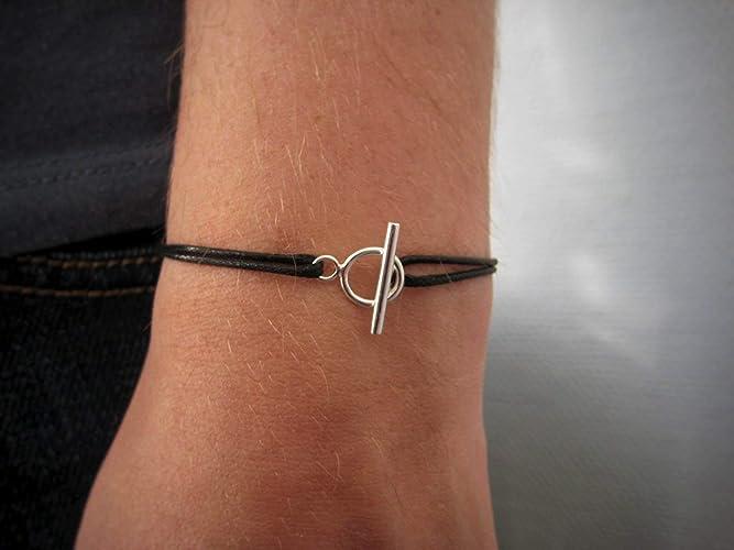 cbda48c47566 Bracelet cordon fermoir toggle Argent 925 ou Plaqué Or - bracelet fermoir  cercle et barre