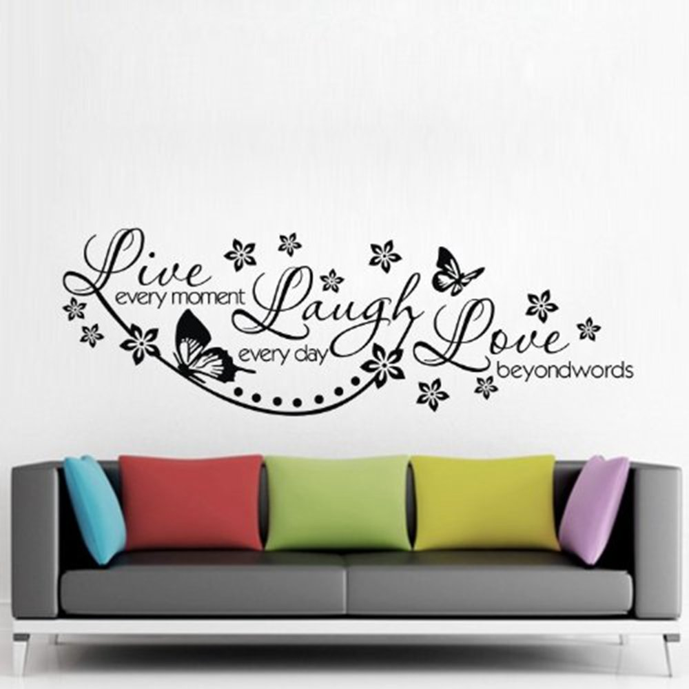 ColorfulHall 23.6'' X 38.2'' Large Black DIY Wall Sticker Live Every Moment,laugh Every Day,love Beyond Words Wall Decal Quote Saying Words Removable PVC Vinyl Mural by ColorfulHall