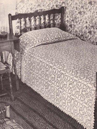 Ohio Farmhouse Filet Crochet Large Block Motif Bedspread Pattern
