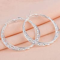 khamchanot Women Fashion 925 silver Hoop Stud Dangle Earrings Wedding Engagement Jewelry