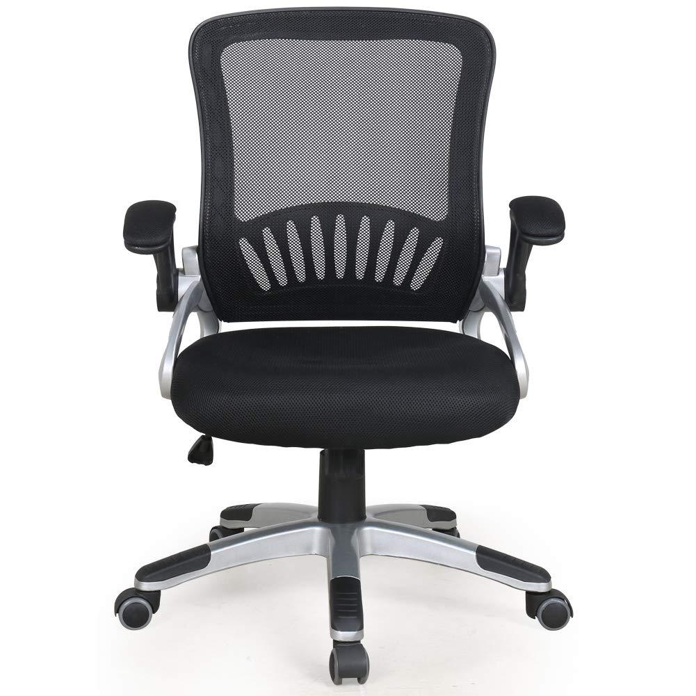 Zenith Mid Back Mesh Office Chair with Adjustable Armrest Lumbar Support Headrest Swivel Task Desk Chair Ergonomic Computer Chair Black Slim