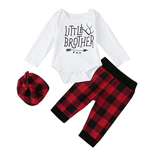 e3758a4ba Amazon.com: Winsummer 3Pcs Newborn Baby Boys Winter Plaid Pants+Romper+Hat  Outfits Christmas Clothes: Clothing