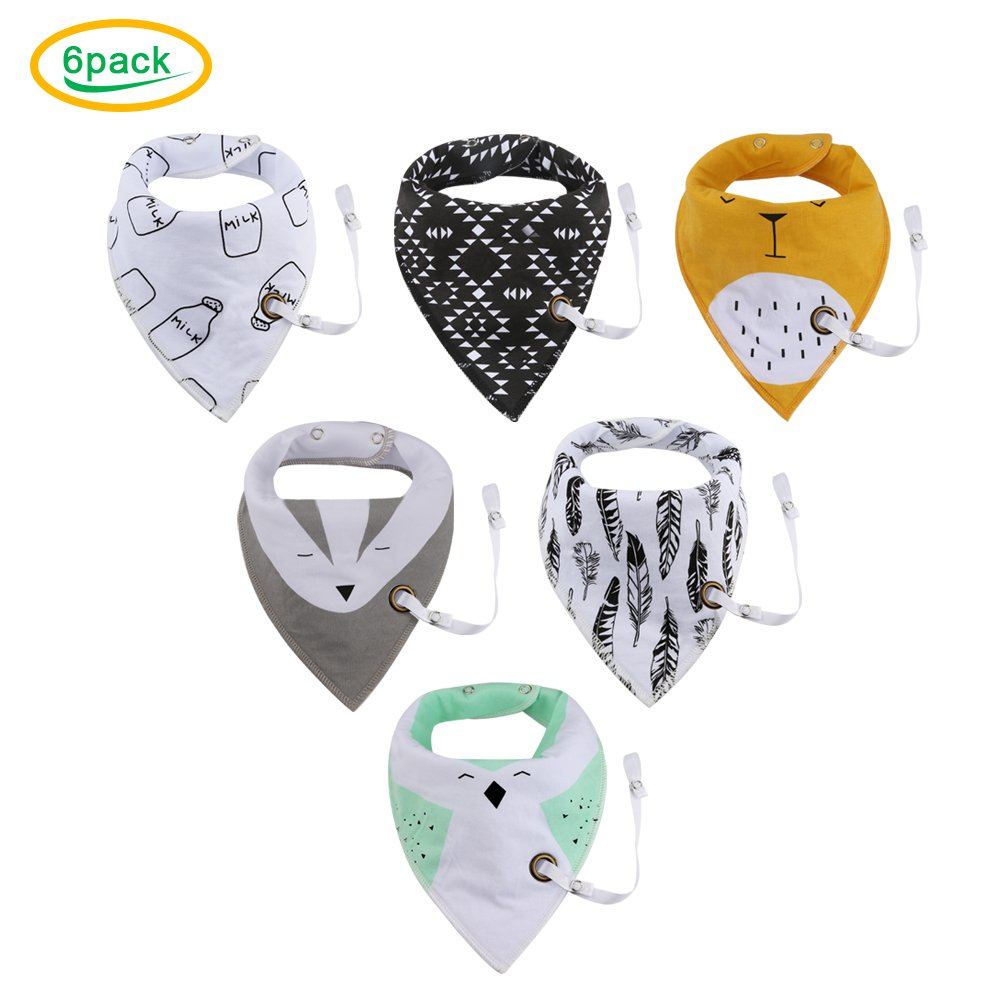 Amazon.com : Baby Bandana Drool Bibs with Pacifier Clip ...